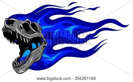 Vector Skeleton Of Tyrannosaurus Rex With Flames On Isolated Background .