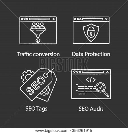 Seo Chalk Icons Set. Traffic Conversion, Data Protection, Seo Tags And Audit, Custom Coding. Isolate
