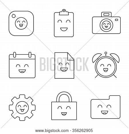 Smiling Items Linear Icons Set. Happy Camera, Clipboard, Photocamera, Cogwheel, File, Folder, Calend