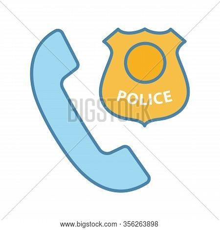 Call The Police Color Icon. Emergency Call. Handset With Police Badge. Isolated Vector Illustration