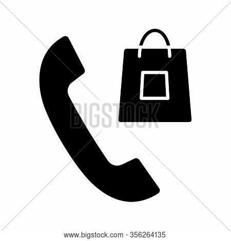 Order Confirmation Call Glyph Icon. Pay Per Call. Purchases Delivery. Handset With Shopping Bag. Sal