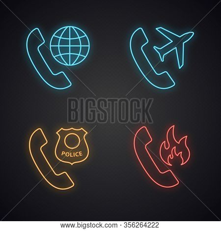 Phone Services Neon Light Icons Set. Roaming, Calls Abroad, Hotline Support, Call The Police. Glowin