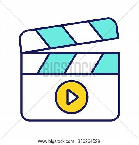 Filming Color Icon. Film Industry. Clapperboard. Time Code Slate. Video Production. Cinematography.