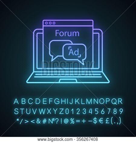 Advertising Forum Neon Light Icon. Internet Marketing. Chatbot Ads. Advertising Notification. Thin L