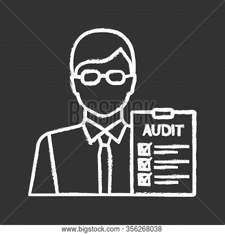 Auditor Chalk Icon. Financial Inspection. Assurance Service. Auditing. Bookkeeper, Accountant. Finan