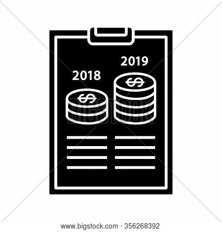 Annual Report Glyph Icon. Profit And Loss Report. Financial Statement. Accounting And Bookkeeping. C
