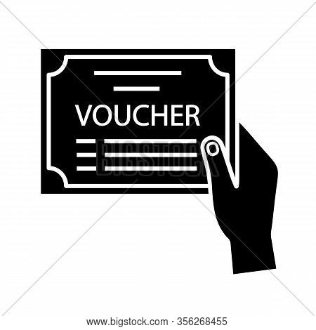 Voucher Glyph Icon. Accounting Document. Financial Documentation. Hand Holding Accounting Voucher. G