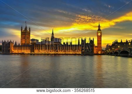 Big Ben and Palace of Westminster in London at sunset, UK