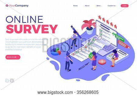 Online Survey Banner With Isometric Characters. Feedback Online Chat. Questionnaire Form From Laptop