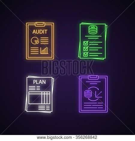 Audit Neon Light Icons Set. Auditors Report, Budget, Performance Audit, Business Plan. Glowing Signs