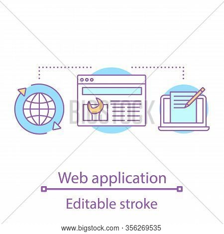 Web Application Concept Icon. Web Browser Settings. Website, App Development. Internet Access. Hosti