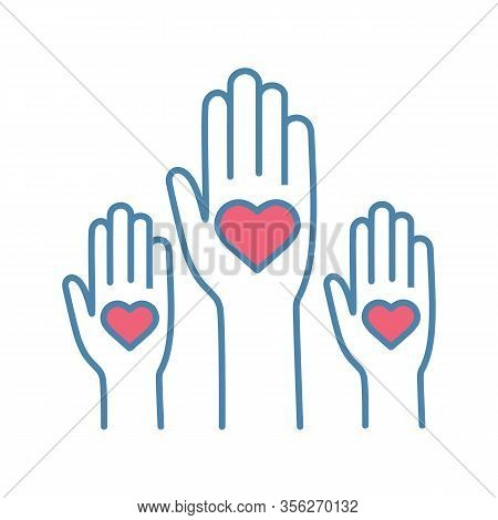 Volunteering Experience Color Icon. Volunteers. Helping Hands. Voting. Charity. Unity In Diversity.