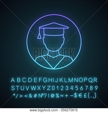 Education Neon Light Icon. Graduation. Academic Degree. Person In Academic Cap. Glowing Sign With Al