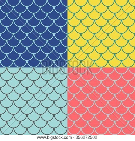 Set Of Seamless Patterns With Round Tiles , Fairy Mermaid Tail Or Scales Of The Dragon Or Fish Scale