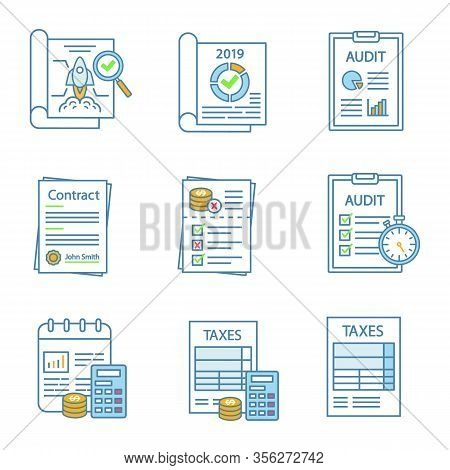 Audit Color Icons Set. Taxes Form, Accounting, Budgeting, Auditor S Report, Operational Audit, Contr