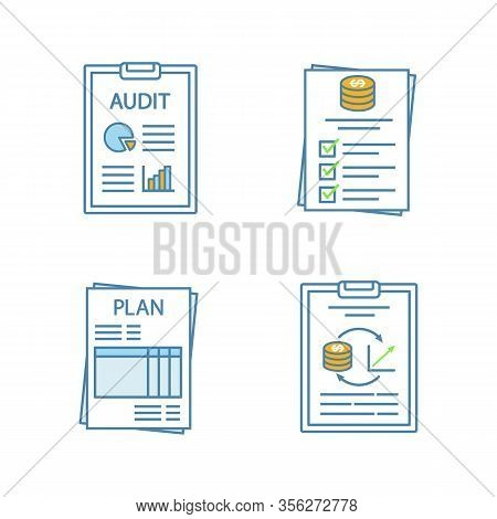 Audit Color Icons Set. Auditor S Report, Budget, Performance Audit, Business Plan. Isolated Vector I