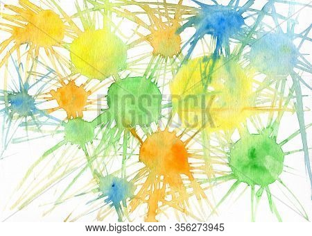 Yellow, Orange, Green, Blue Blots And Smudges On White. Freeshape Abstract Colorfull Watercolor Back