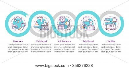 Human Lifecycle Vector Infographic Template. Newborn, Childhood, Adolescence, Adulthood, Senility. D