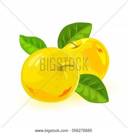 Appetizing Yellow Apples With Green Leaves. Healthy Food. Summer Snack. Sweet Ripe Juicy Fruits. Ing