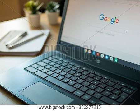 March 2020, Uk: Google Search Engine On Home Page Of Hp Laptop In Home Office