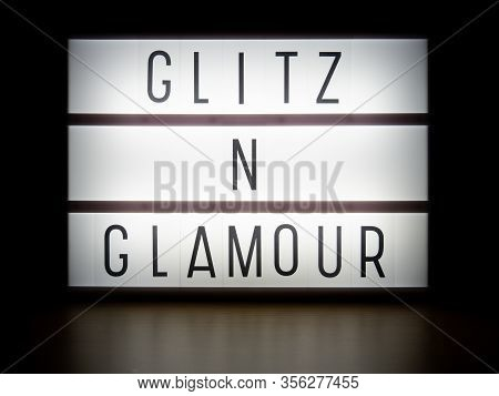 Led Light Box Glitz And Glamour Sign In Dark