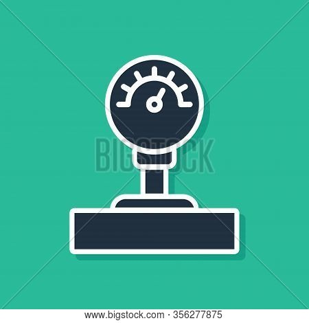 Blue Gauge Scale Icon Isolated On Green Background. Satisfaction, Temperature, Manometer, Risk, Rati