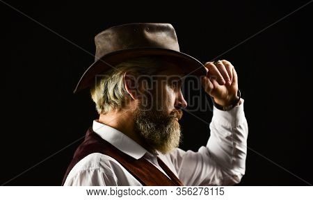 Perfect Male. Detective Acknowledgement Or Greeting. Trilby Hat. Man In Vintage Style Wide Brimmed H