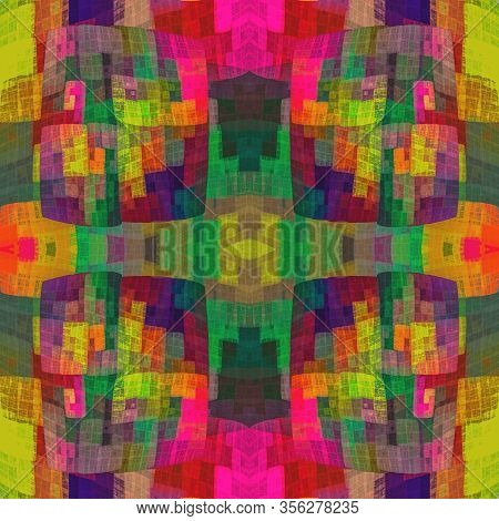 Boho Chic Fractal Abstract Seamless Checkered Pattern. Symmetrical And Eclectic At The Same Time, Ch