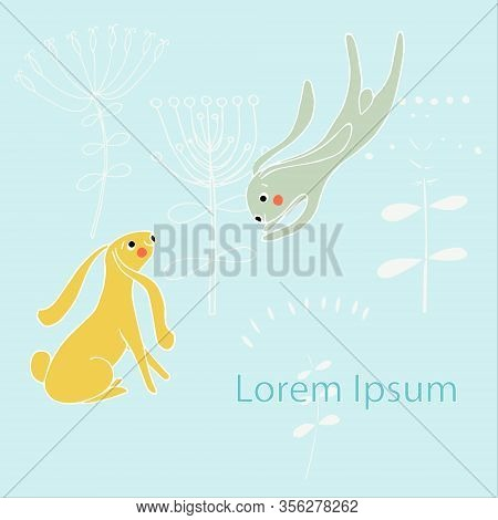 Cartoons Hare Background On Blue, Lorem Ipsum For Web, For Print, For Cover