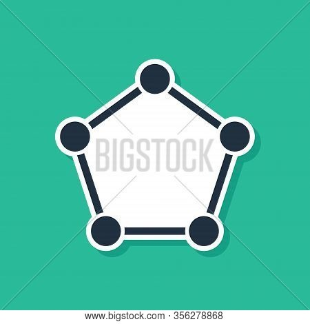 Blue Geometric Figure Pentagonal Prism Icon Isolated On Green Background. Abstract Shape. Geometric