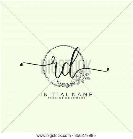 Rd Letter Initial Beauty Monogram And Elegant Logo Design, Handwriting Logo Of Initial Signature, We