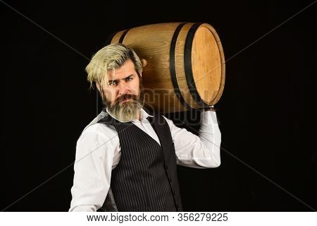 This Is Perfect Wine. Wine In Barrel. Bearded Man Explore Taste Of Wine In Restaurant. Checking Colo