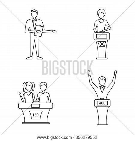 Quiz Show Linear Icons Set. Game Show Host, Winner And Loser, Buzzer Systems, Quiz Bowl. Thin Line C
