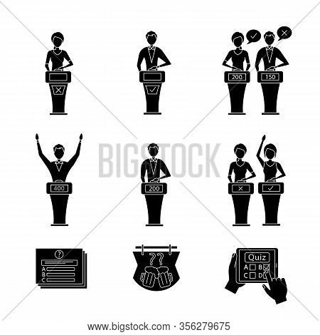 Quiz Show Glyph Icons Set. Intellectual Game Questions, Buzzer Systems, Players, Quiz Bowl, Online,