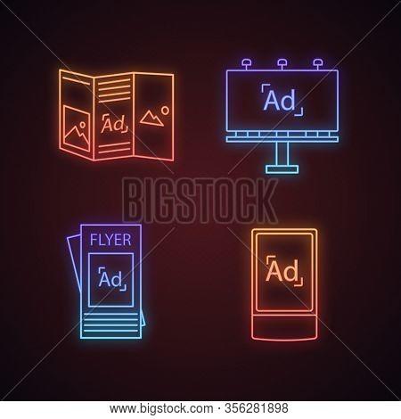 Advertising Channels Neon Light Icons Set. Brochure, Billboard, Street Advertising Lightbox. Glowing