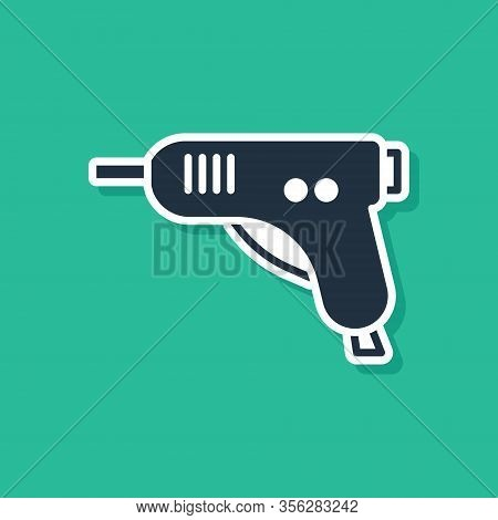 Blue Electric Hot Glue Gun Icon Isolated On Green Background. Hot Pistol Glue. Hot Repair Work Appli