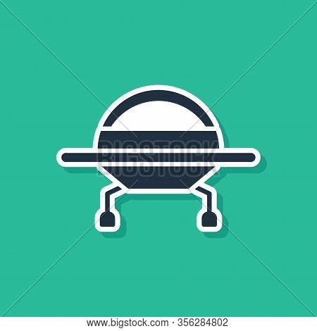 Blue Ufo Flying Spaceship Icon Isolated On Green Background. Flying Saucer. Alien Space Ship. Futuri