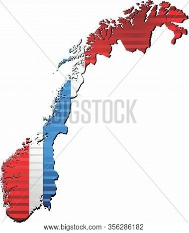Shiny Grunge Map Of The Norway - Illustration,  Three Dimensional Map Of Norway
