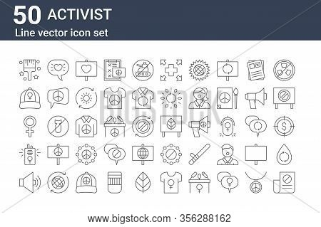 Set Of 50 Activist Icons. Outline Thin Line Icons Such As Petition, Speaker, Walkie Talkie, Female,