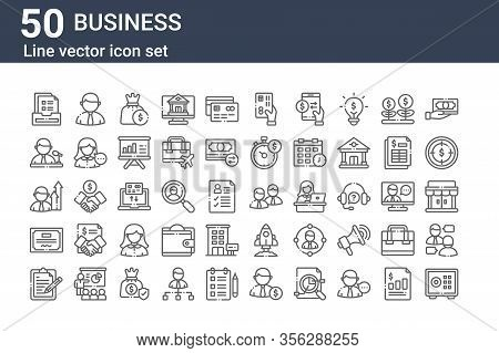 Set Of 50 Business Icons. Outline Thin Line Icons Such As Safe Box, Note, Certificate, Promoted, Spe