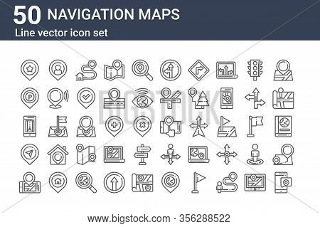 Set Of 50 Navigation Maps Icons. Outline Thin Line Icons Such As Location, Mobilephone, Location, Gp