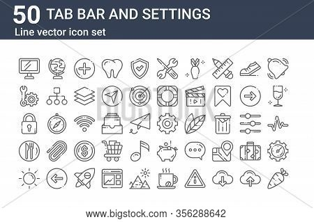 Set Of 50 Tab Bar And Settings Icons. Outline Thin Line Icons Such As Vegetables, Sun, Restaurant, L