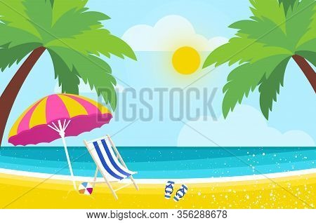 Lounge On Seashore. Parasol Under The Palm Tree. Beach Chair With Sea. Time To Travel. Tropical Summ