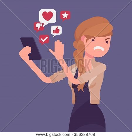 Mobile Junk From Smartphone Annoying Woman. Smart Female User Removing Space Wasting Trash Informati