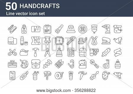 Set Of 50 Handcrafts Icons. Outline Thin Line Icons Such As Caulk, Board, Toolbox, Scissors, Clothin