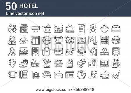 Set Of 50 Hotel Icons. Outline Thin Line Icons Such As Broom, Towel, Location, Male, Female, Hotel,