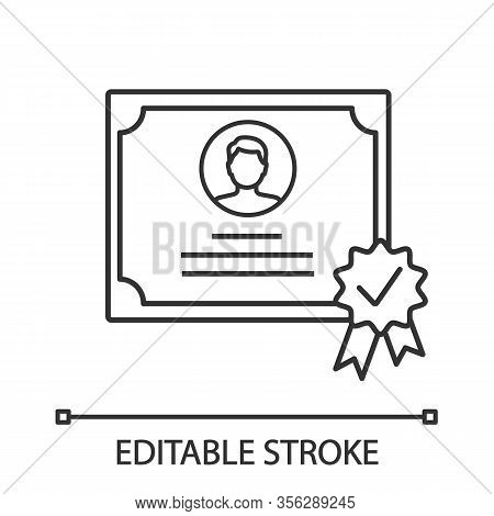 Certificate Linear Icon. Thin Line Illustration. Diploma. Qualification, Degree Certificate. Award.