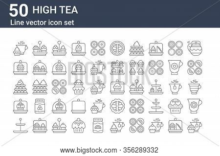 Set Of 50 High Tea Icons. Outline Thin Line Icons Such As Teacup, Tea Stand, Cake Dome, Tart, Cake,