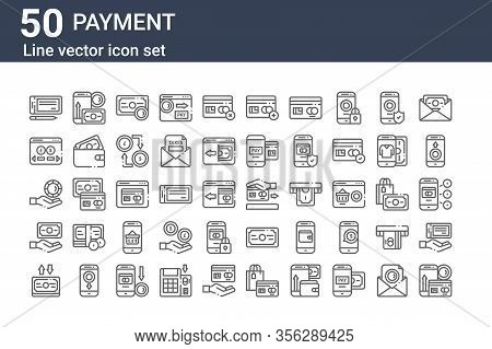 Set Of 50 Payment Icons. Outline Thin Line Icons Such As Payment Method, Transfer, Pay, Pay, Exchang