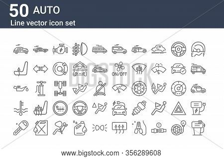 Set Of 50 Auto Icons. Outline Thin Line Icons Such As Gas Pump, Car Key, Water Level, Oil, Chair, Sp